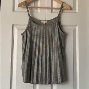 UO Silence + Noise Silver Pleated Tank